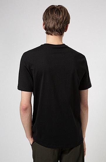中心徽标有机棉常规版型 T 恤,  001_黑色