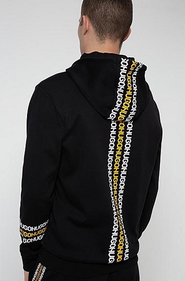 饰有胎印徽标图案的法国棉质毛圈布连帽运动衫,  001_黑色
