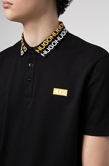 胎印徽标 Permafit 棉 Polo 衫,  001_黑色