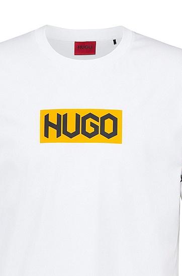 胎印徽标棉质 T 恤,  100_白色