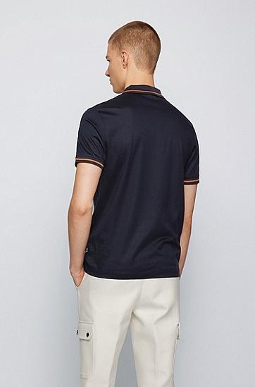 斜条纹丝光棉 Polo 衫,  402_暗蓝色