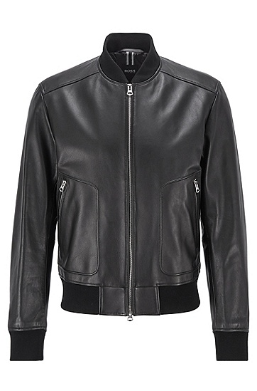 饰以罗纹针织细节的常规版纳帕革夹克,  001_黑色