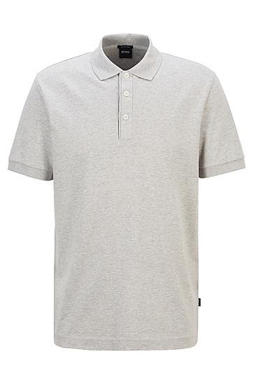 亚麻棉混纺花灰 Polo 衫,  041_银灰色