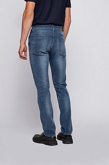 中蓝色弹性修身牛仔裤,  426_中蓝色