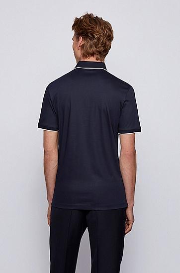 丝光棉毛面料拉链领 Polo 衫,  402_暗蓝色