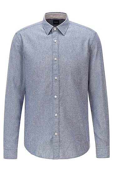 饰有图案提花的成衣水洗修身衬衫,  402_暗蓝色