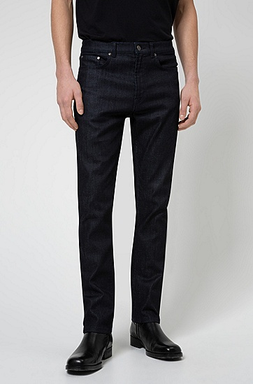 常规版型深蓝色舒适弹力牛仔裤,  402_暗蓝色
