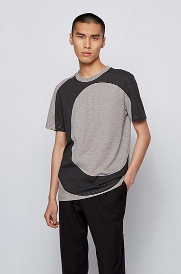 徽标字母图案常规版棉质 T 恤,  041_银灰色