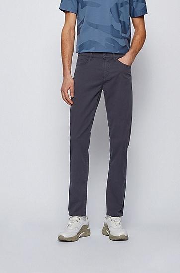 纸感弹力牛仔布修身牛仔裤,  402_暗蓝色