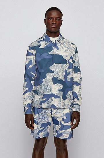 迷彩花砖印花宽松外套衬衫,  489_淡蓝色