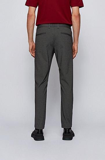微结构超弹力面料锥形长裤,  001_黑色