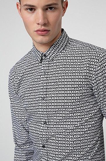 胎印徽标修身棉质衬衫,  001_黑色