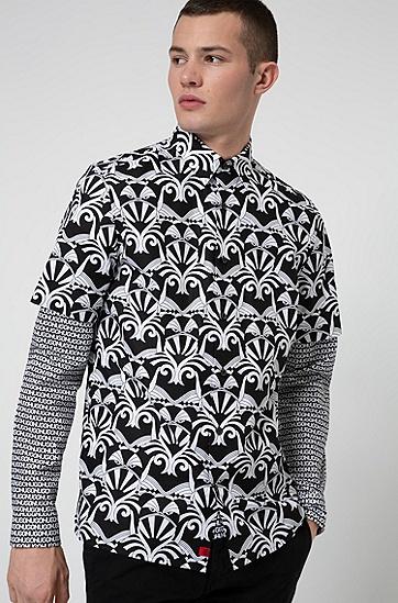 通体印花图案宽松版短袖衬衫,  001_黑色
