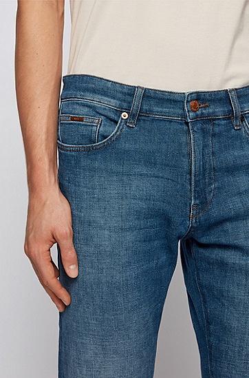修身蓝色舒适弹力牛仔裤,  430_亮蓝色
