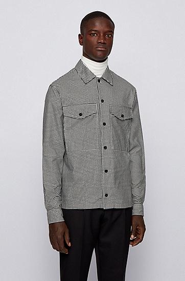 饰有细方格印花的宽松版棉质斜纹布外套衬衫,  001_黑色
