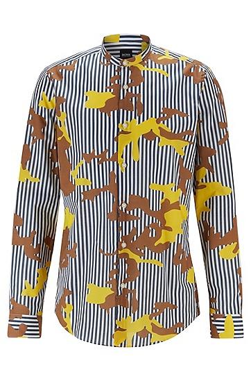 条纹迷彩印花常规版型衬衫,  402_暗蓝色