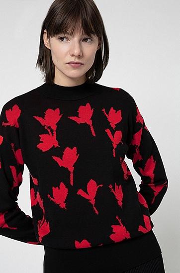 樱花提花图案宽松版型毛衣,  965_多色