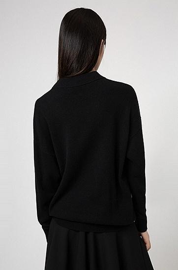 心形装饰大廓型针织毛衣,  001_黑色