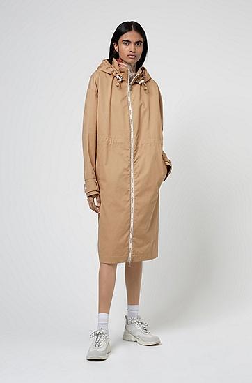 徽标印花拉链饰带宽松版型派克大衣,  270_浅米色