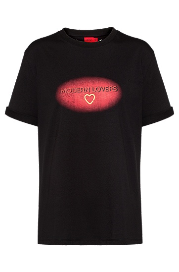 情人节主题印花宽松 T 恤,  001_黑色