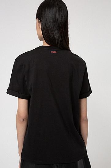 情人节主题印花有机棉宽松 T 恤,  001_黑色