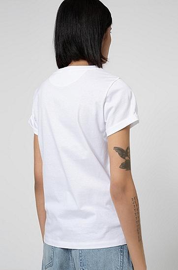 精巧心形印花有机棉 T 恤,  100_白色