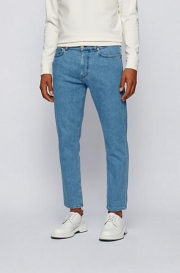 舒适弹力蓝色牛仔裤,  445_水蓝色