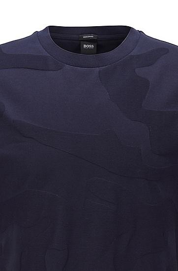迷彩图案提花工艺丝光棉 T 恤,  402_暗蓝色