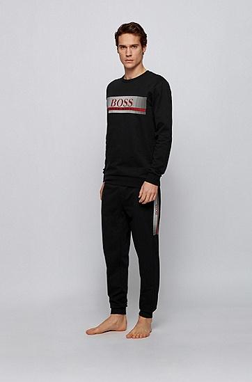 热封徽标法式毛圈布家居运动衫,  001_黑色