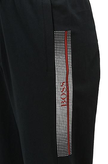 热封徽标艺术风装饰缩边裤脚家居裤,  001_黑色