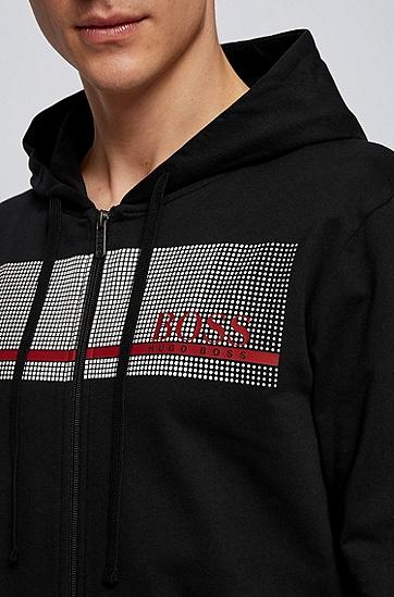 热封徽标法式毛圈布家居夹克,  001_黑色