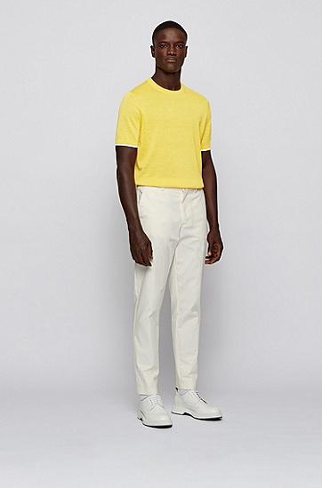 苎麻加棉混纺面料短袖毛衣,  736_亮黄色