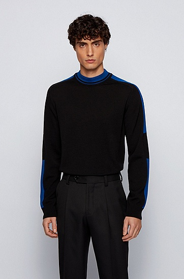 黑色撞色滚边中领毛衣,  001_黑色