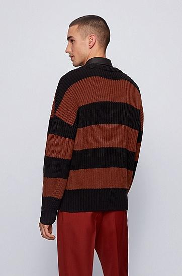 棉质混纺橄榄球条纹 V 领毛衣,  224_铜棕色