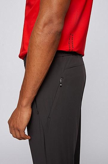 防水弹力纯纺面料修身长裤,  001_黑色