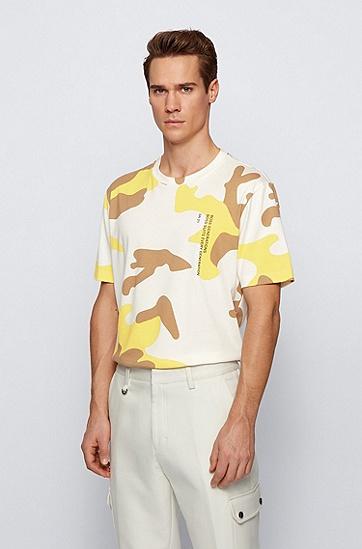 迷彩和标语印花图案丝光棉 T 恤,  736_亮黄色