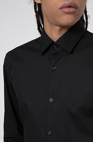 棉质混纺修身版衬衫,  001_黑色