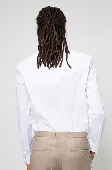超弹棉质混纺修身版衬衫,  199_淡白色