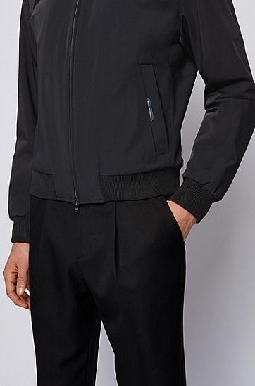 弹力面料修身拉链夹克,  001_黑色