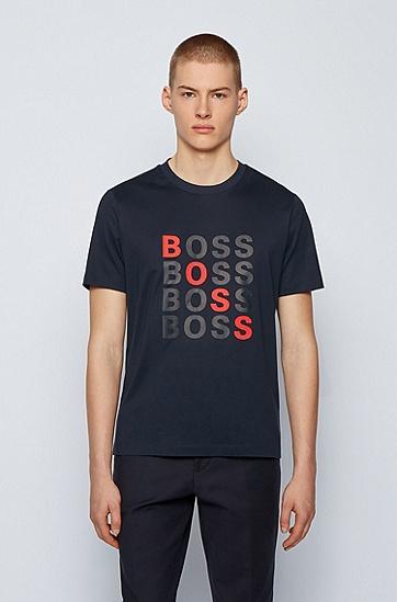 徽标艺术风图案常规版型丝光棉 T 恤,  402_暗蓝色