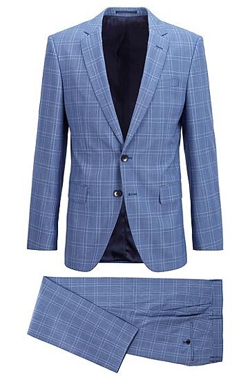 方格初剪羊毛修身西装,  497_淡蓝色