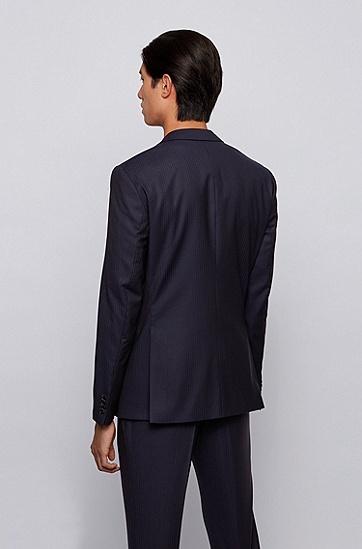 编织条纹初剪羊毛修身西装,  402_暗蓝色