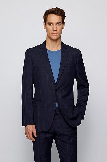 可追踪初剪羊毛纯色方格修身西装,  402_暗蓝色