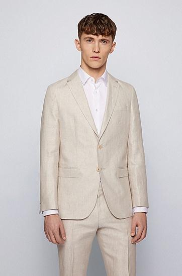 微图案亚麻修身西装,  118_淡白色
