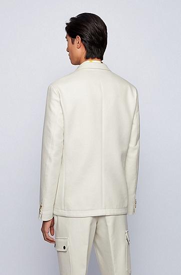 迷彩印花衬里棉质修身夹克,  118_淡白色