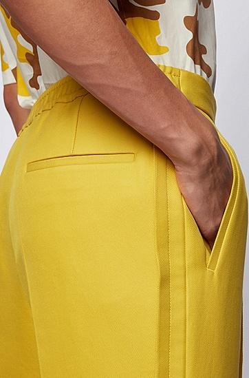 个性褶裥设计纯棉直筒长裤,  736_亮黄色