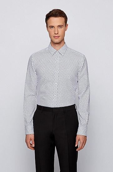 饰有几何图案的修身版棉质提花衬衫,  489_淡蓝色