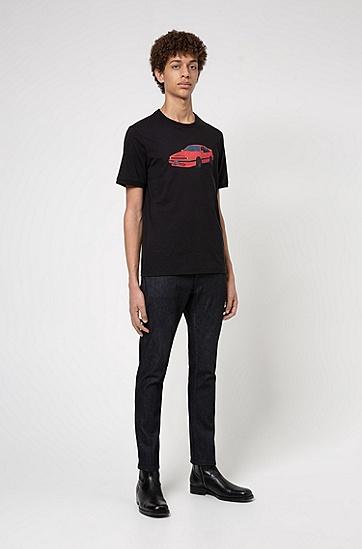 系列主题印花棉质平纹单面针织布 T 恤,  001_黑色