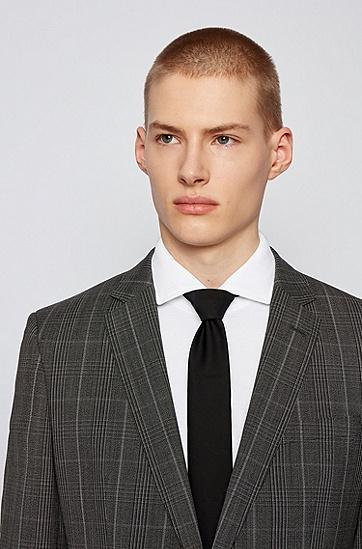 棉质平纹针织面料修身宽角领衬衫,  100_白色