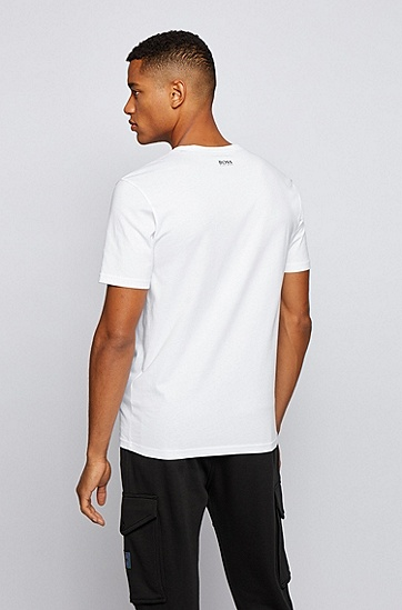 饰有鲨鱼照片印花的棉质平纹针织面料 T 恤,  100_白色